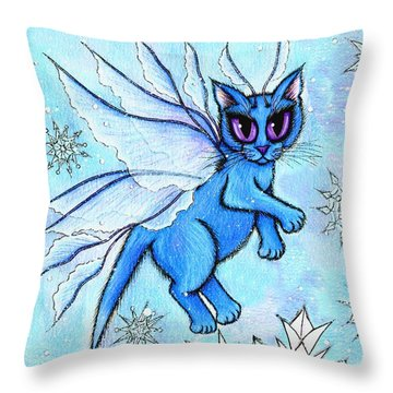 Throw Pillow featuring the painting Winter Snowflake Fairy Cat by Carrie Hawks