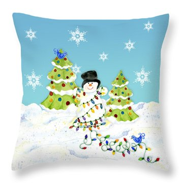 Winter Snowman - All Tangled Up In Lights Snowflakes Throw Pillow