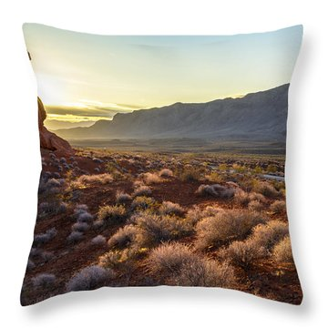 Winter Solstice Sunrise At Balanced Rock Throw Pillow by Joe Doherty