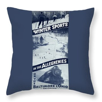 Winter Sports In The Alleghenies Throw Pillow