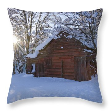 Winter Stable Throw Pillow