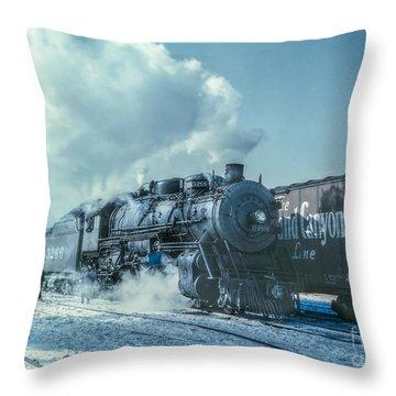 Winter Steam Train Throw Pillow by Randy Steele