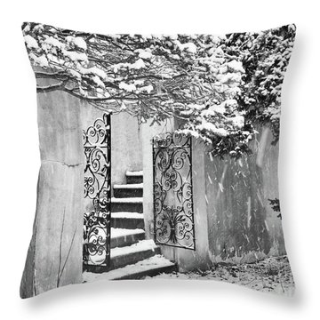 Winter Steps At The Vanderbilt In Centerport, Ny Throw Pillow