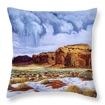 Winter Storm In Mystery Valley Throw Pillow