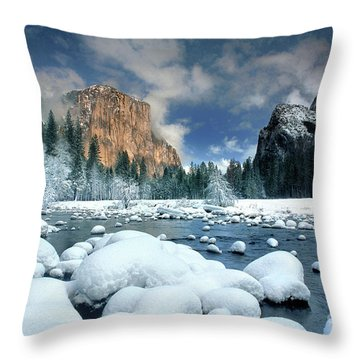 Throw Pillow featuring the photograph Winter Storm In Yosemite National Park by Dave Welling