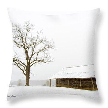 Winter Storm On The Farm Throw Pillow