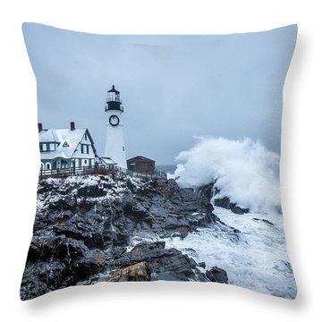 Winter Storm, Portland Headlight Throw Pillow