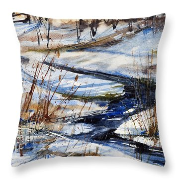 Winter Stream Throw Pillow by Judith Levins