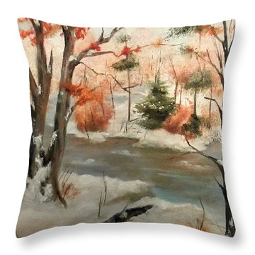 Winter Stream Throw Pillow