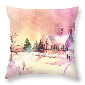 Winter Stroll Throw Pillow by Arline Wagner