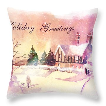 Winter Stroll Card Throw Pillow by Arline Wagner
