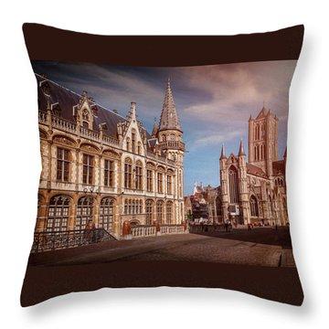 Winter Sun In Ghent Belgium  Throw Pillow