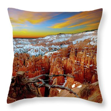 Winter Sunrise At Bryce Throw Pillow