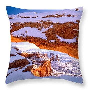 Winter Sunrise At Mesa Arch Throw Pillow