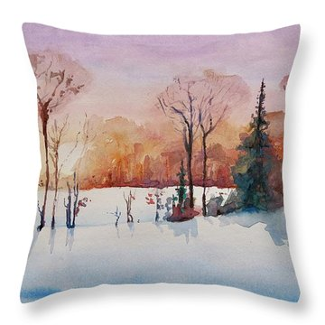 Throw Pillow featuring the painting Winter Sunrise by Geni Gorani