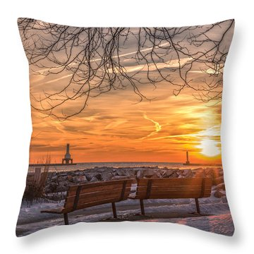 Winter Sunrise In The Park Throw Pillow