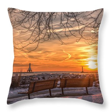 Winter Sunrise In The Park Throw Pillow by James Meyer