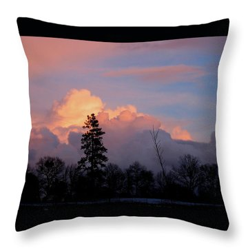 Winter Sunrise Nevada County California Throw Pillow