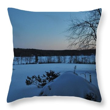 Throw Pillow featuring the photograph Winter Sunrise On Demond Pond by John Black