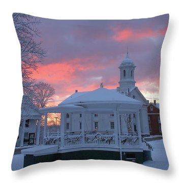 Winter Sunrise On The Common Throw Pillow by John Burk
