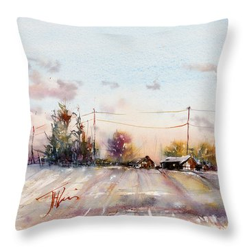 Winter Sunrise On The Lane Throw Pillow by Judith Levins