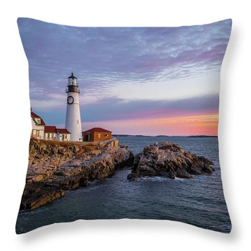 Winter Sunrise Over Portland Head Light Throw Pillow