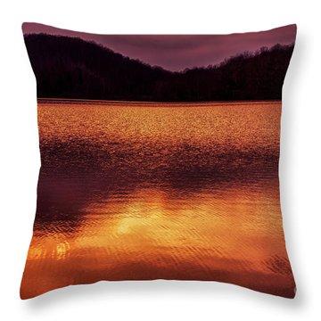 Winter Sunset Afterglow Reflection Throw Pillow