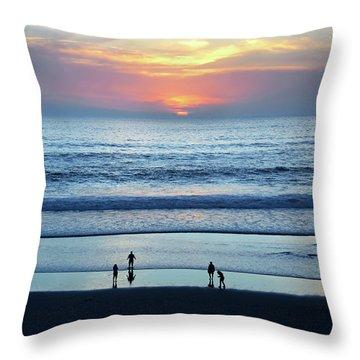 Winter Sunset At Carmel Beach Throw Pillow