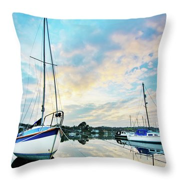 Winter Sunset At Mylor Bridge Throw Pillow
