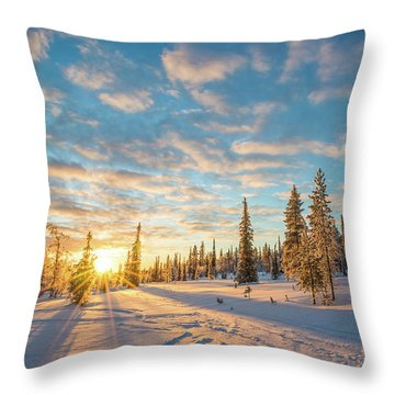 Throw Pillow featuring the photograph Winter Sunset by Delphimages Photo Creations