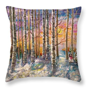 Dylan's Snowman - Winter Sunset Landscape Impressionistic Painting With Palette Knife Throw Pillow