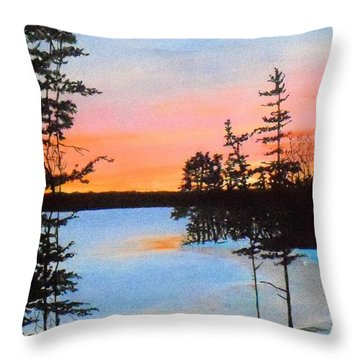 Winter Sunset Laurel Lake Lenox Ma Throw Pillow by William Tremble
