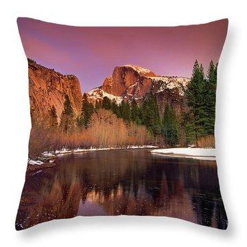 Winter Sunset Lights Up Half Dome Yosemite National Park Throw Pillow