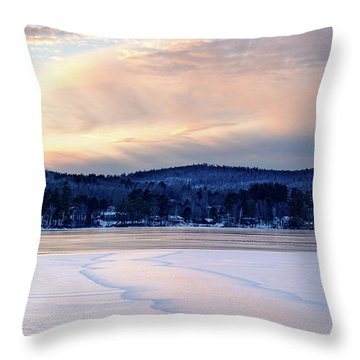 Winter Sunset On Wilson Lake In Wilton Me  -78091-78092 Throw Pillow