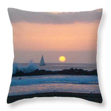 Winter Sunset, Venice Breakwater Throw Pillow