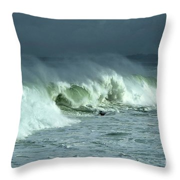 Winter Surf On Monterey Bay Throw Pillow