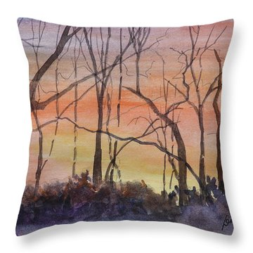 Winter Surprise -a Watercolor Sketch  Throw Pillow