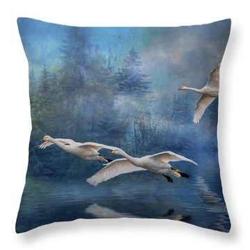 Winter Swans Throw Pillow by Brian Tarr