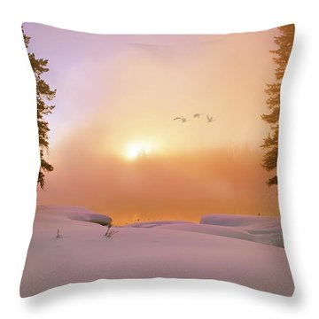 Winter Swans Throw Pillow by Leland D Howard