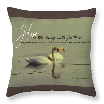 Winter Swans Quote Throw Pillow by JAMART Photography
