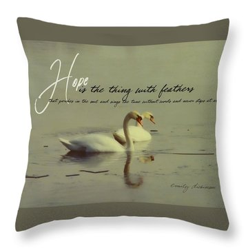 Winter Swans Quote Throw Pillow