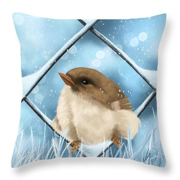 Throw Pillow featuring the painting Winter Sweetness  by Veronica Minozzi