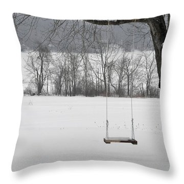 Throw Pillow featuring the photograph Winter Swing by John Black