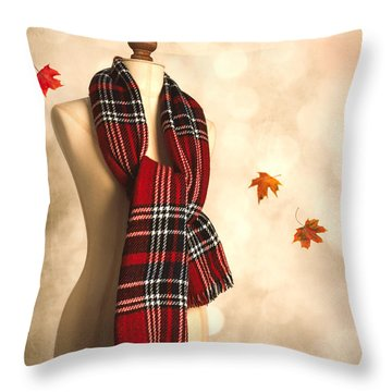 Winter Tartan Scarf Throw Pillow