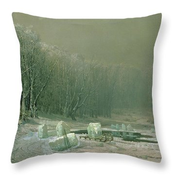 Winter The Laying Off Of Ice Throw Pillow by Arseniy Ivanovich Meshchersky