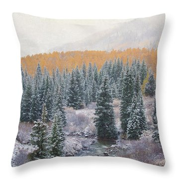 Throw Pillow featuring the photograph Winter Touches The Mountain by Kristal Kraft