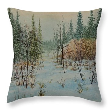 Winter Trail Alberta Throw Pillow