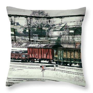 Winter Transport Throw Pillow by Wim Lanclus