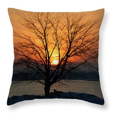 Winter Tree Sunrise Throw Pillow