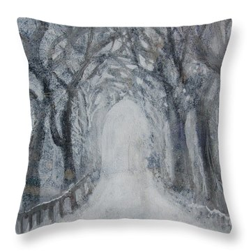 Throw Pillow featuring the painting Winter Tree Tunnel by Robin Maria Pedrero
